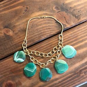 Anthropologie Green Stone & Gold Collar necklace